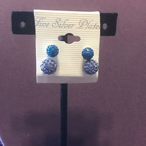 New set of two Silver plated post earrings. 2/$12